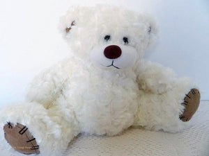 white teddy bear, cuddly bears, soft toy plush, vintage, Australian teddy bears