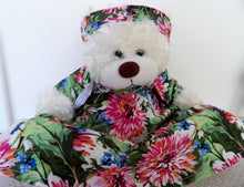 white teddy bear, vintage dressed bear, cuddly bears, soft toy plush, vintage, Australian teddy bears