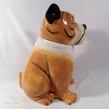 bulldog cookie jar, dog treat canister, canine ceramic ornament, ceramic dog, vintage cookie jars, collectible cookie jars Australia, animal ornaments