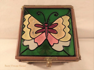 glass and brass jewellery box, stained glass trinket box, butterfly design, collectable vintage, boho style. 1970s