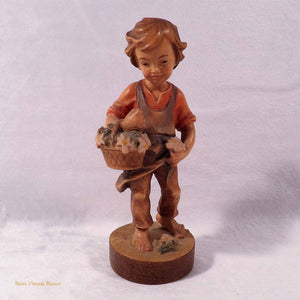 Dolphi, handcarved wood ornament, collectable figurine, boy with flowers, vintage, 1980s