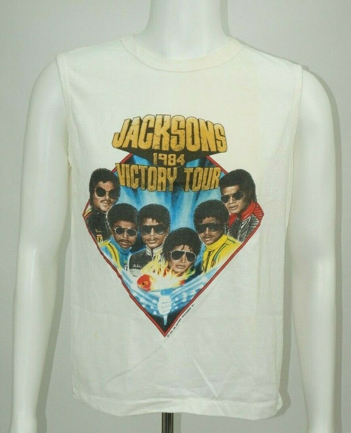 Vintage 84 JACKSONS VICTORY TOUR Sleeveless T-shirt Medium Michael Jackson - Beezy's Department Store