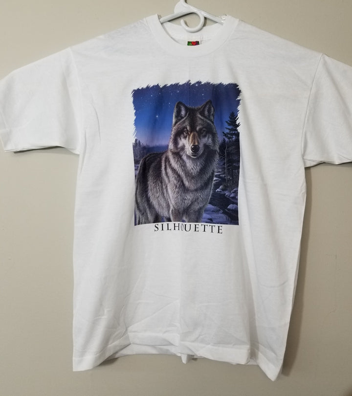 Vintage 90's Wolf T-Shirt Silhouette XL Nature Animal Tee - Beezy's Department Store