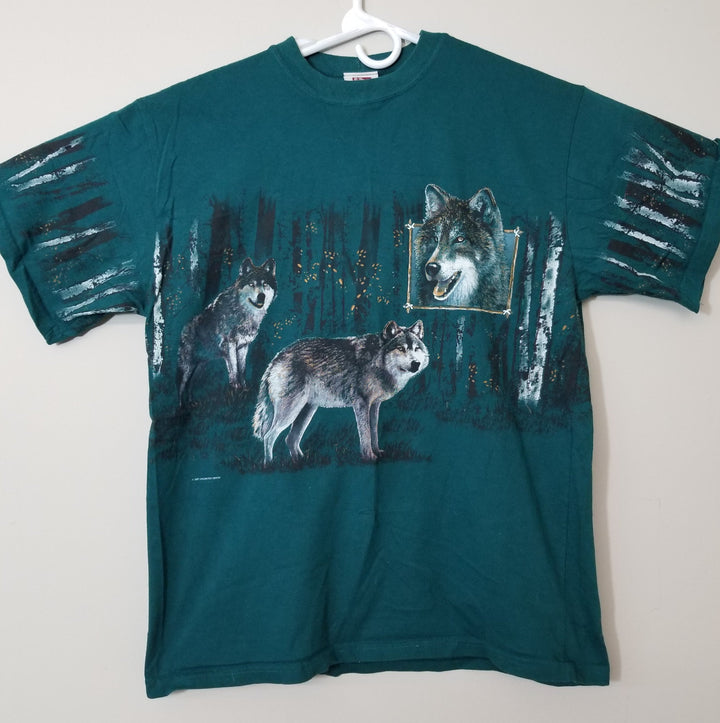 Vintage 90s ART UNLIMITED SPORTSWEAR All over Double Sided Wolf T Shirt Large - Beezy's Department Store