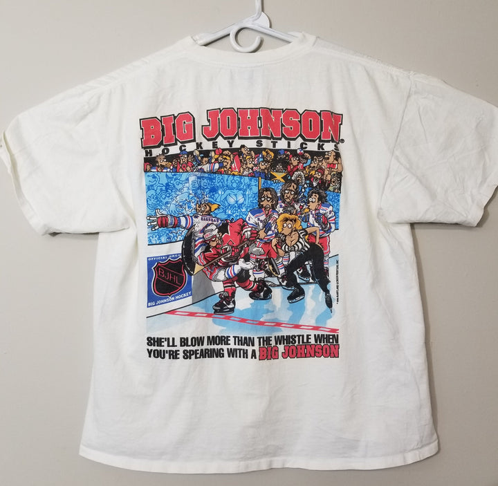 Vintage Big Johnson T-Shirt Hockey Stick BJHL 90's Tee - Beezy's Department Store