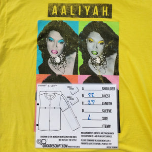 Aaliyah T Shirt Andy Warhol Art print Yellow Size XL - Beezy's Department Store