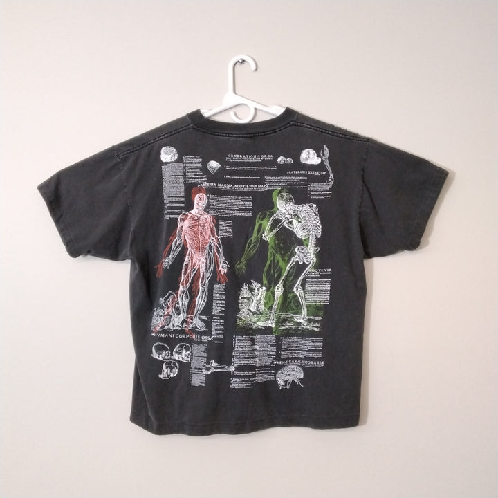 Vintage 1989 Andreas Vesalius Human Anatomy Gear Skeleton All Over Print T Shirt L - Beezy's Department Store