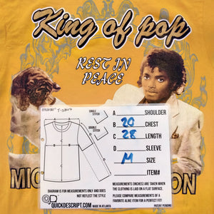 Michael Jackson King of Pop T-Shirt Mens M - Beezy's Department Store