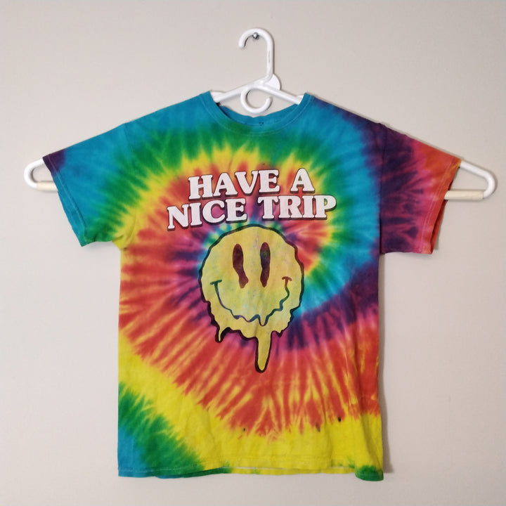 Vintage Tie Dye Have a nice Trip Melting Smiling Face T-Shirt Mens M - Beezy's Department Store