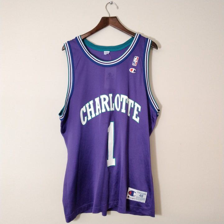 Vintage Champion Muggsy Bogues Basketball Jersey Mens Large - Beezy's Department Store