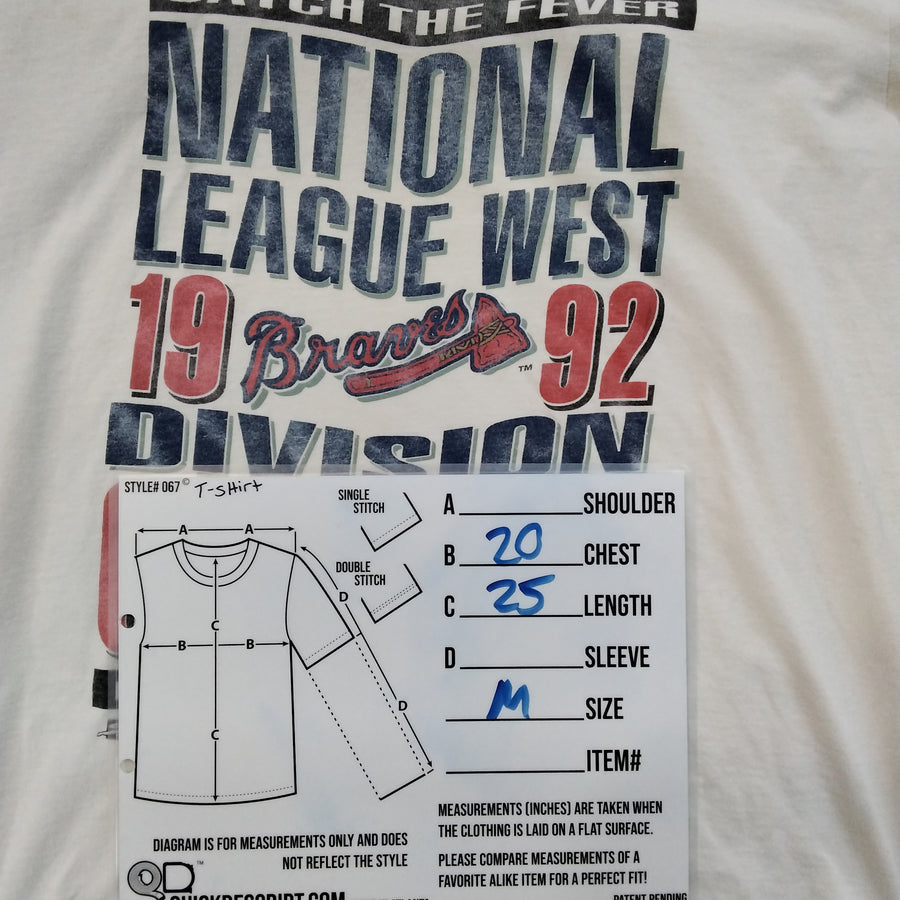 Vintage Atlanta Braves 92 Division Champs T-Shirt Size M - Beezy's Department Store