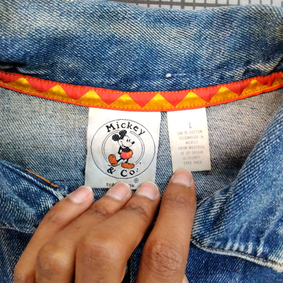 Vintage Mickey Mouse Denim Jacket Disney Mens Large - Beezy's Department Store