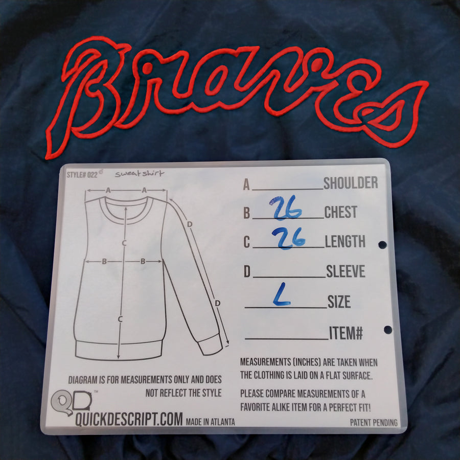 Vintage Pro Player Atlanta Braves Pullover Jacket Size Large - Beezy's Department Store