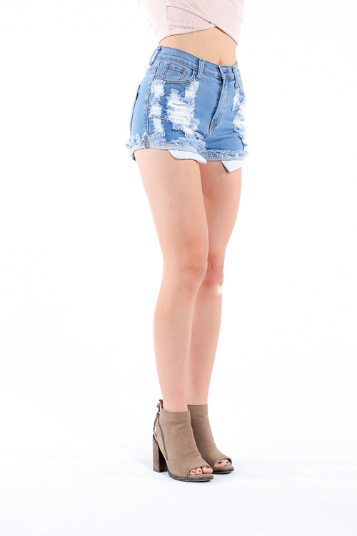 Distressed, high-waisted denim shorts