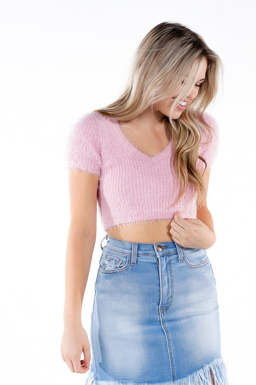 pink fuzzy v-neck cropped top