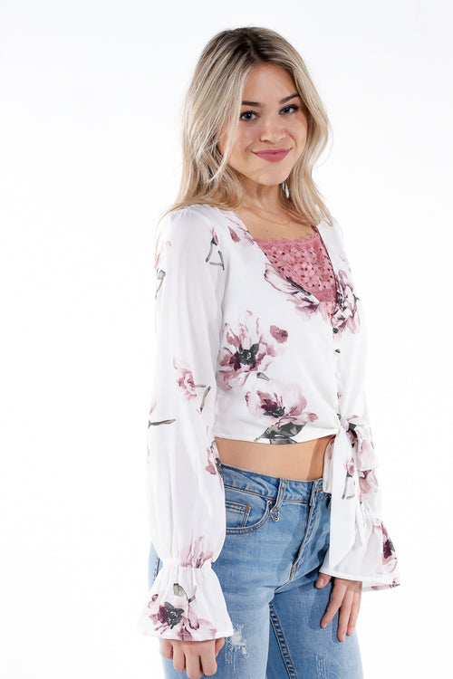white floral cropped blouse with tie