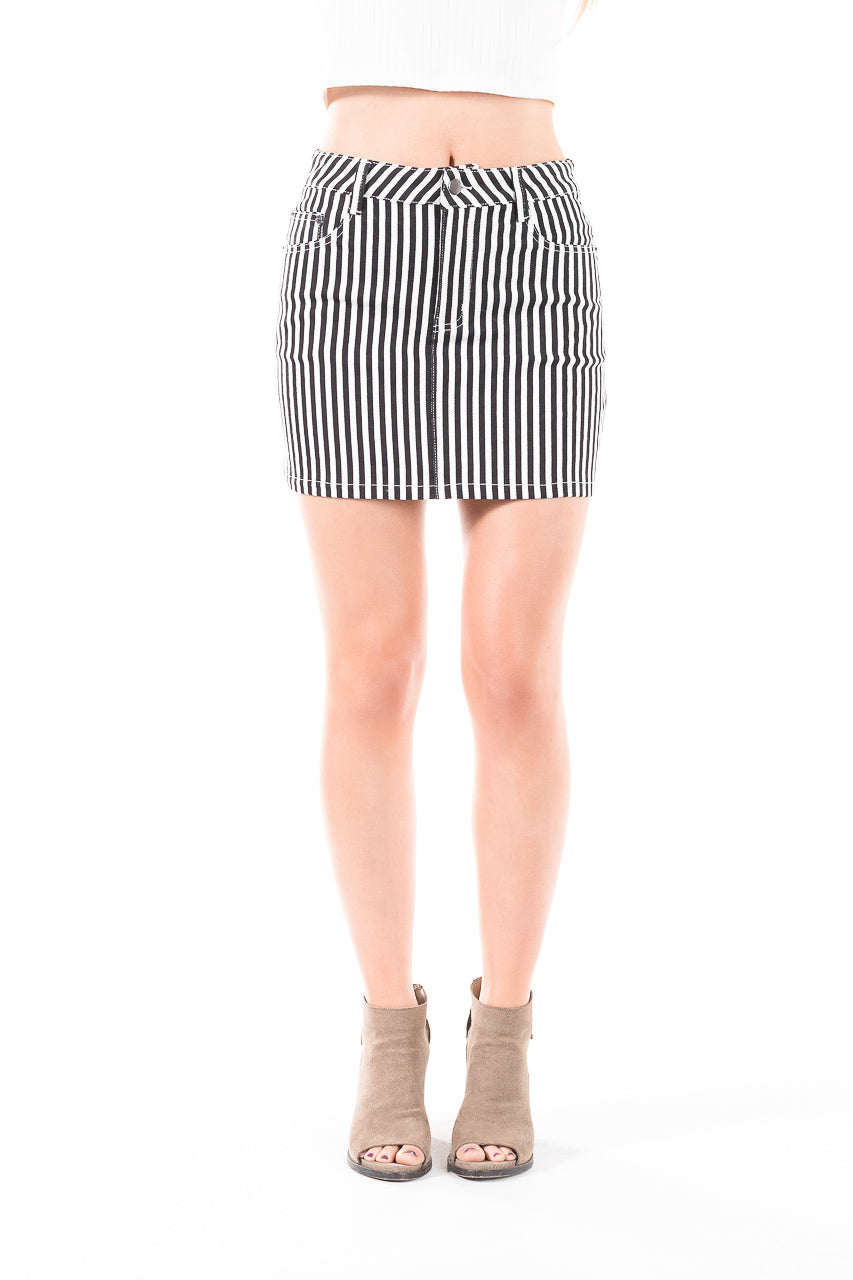 High-waisted, striped A-line skirt