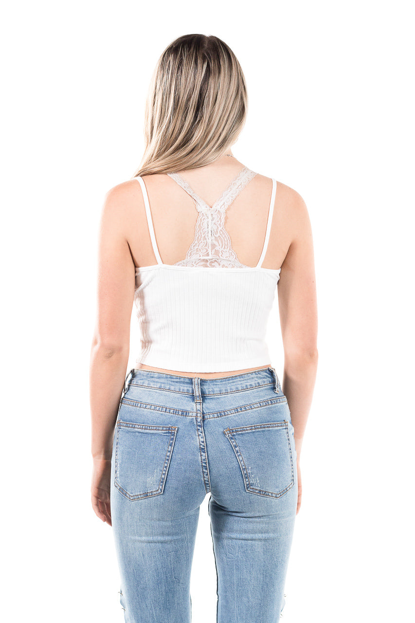 White, cropped tank with ruffled hem