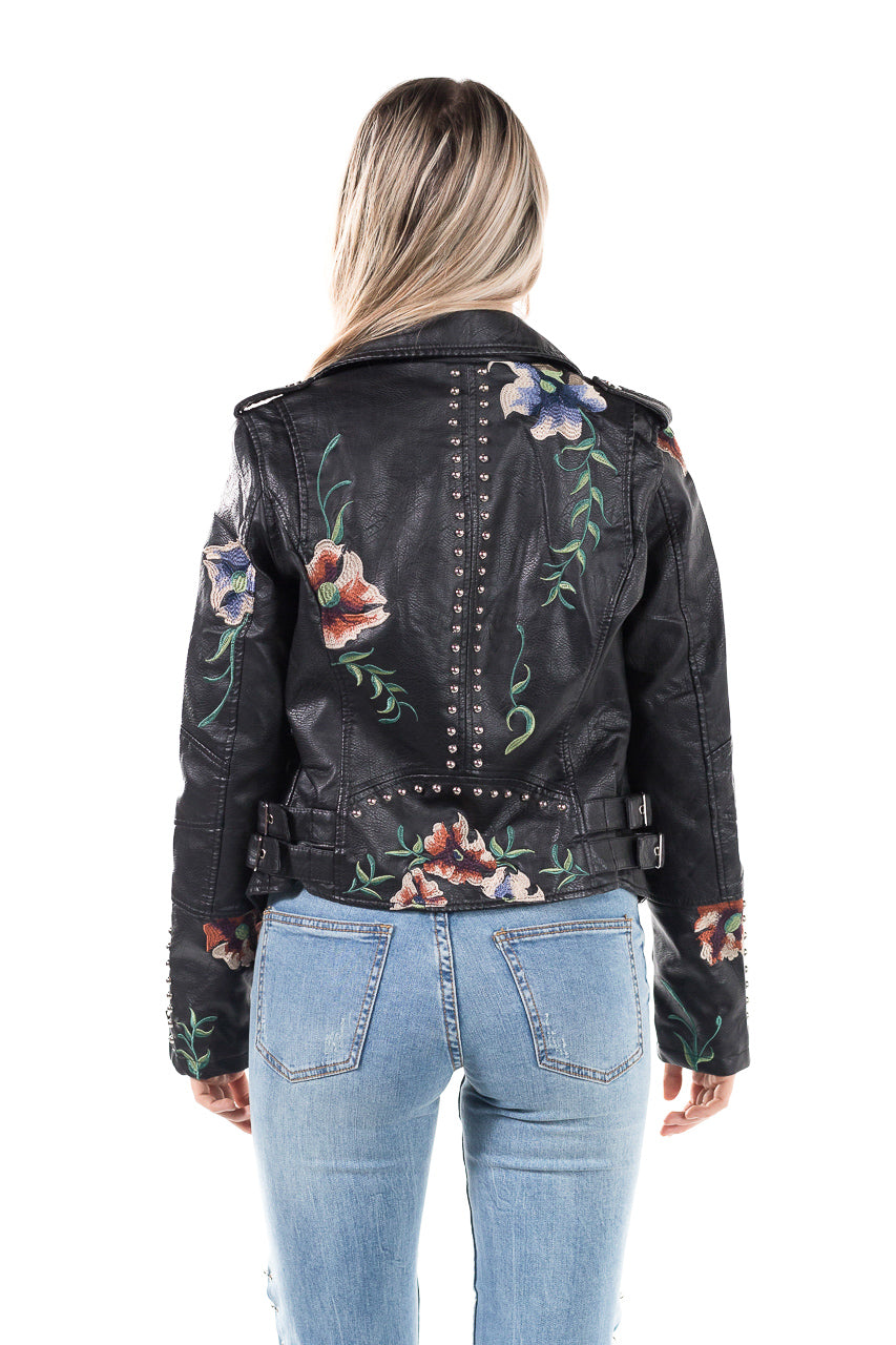 Floral studded faux leather jacket