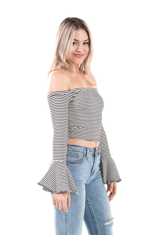 Striped, off-the-shoulder, cropped top with long bell sleeves