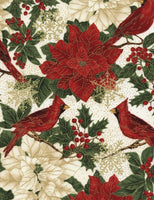 Poinsettia & Cardinals Cream