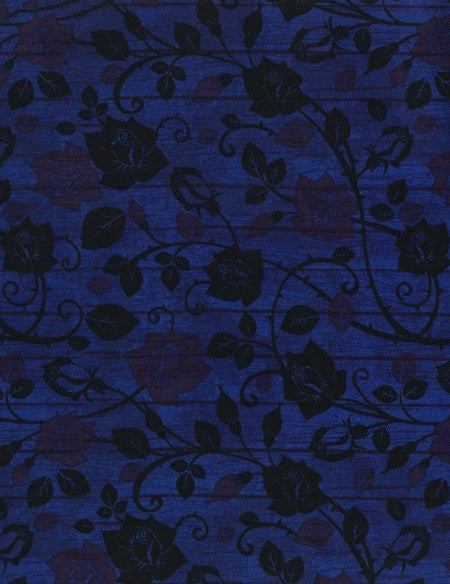 Bohemian Blues Floral on Wood Admiral