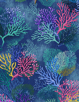 Sealife Vacation - Coral - Navy Blue
