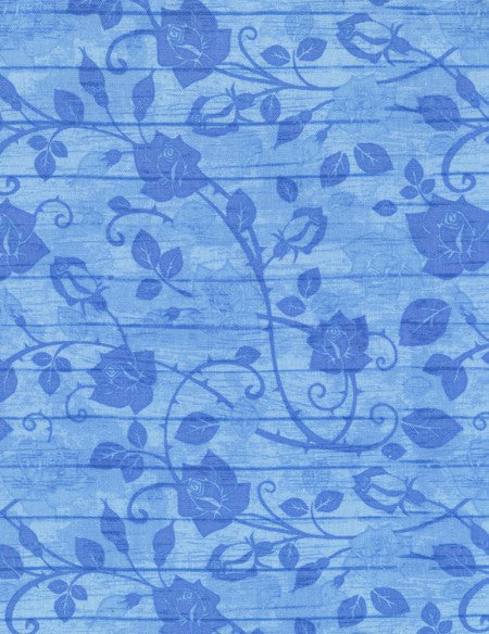 Bohemian Blues Floral on Wood Aqua