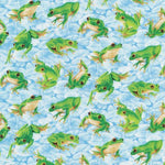 Frolicking Fields - Frogs Blue