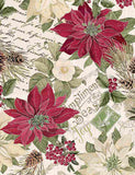 Metallic Poinsettas on Text Cream