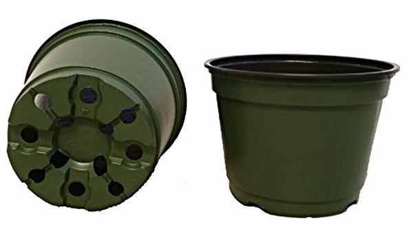 "6 Inch Pots, (Qty. 100), 6"" Round Nursery and Greenhouse Pots,, Green Plastic"