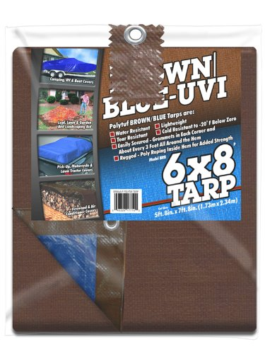 Tarp, Outdoor Canopy, 6'x8', Blue/Brown, Truck Cover, Grommets every 3 Ft.