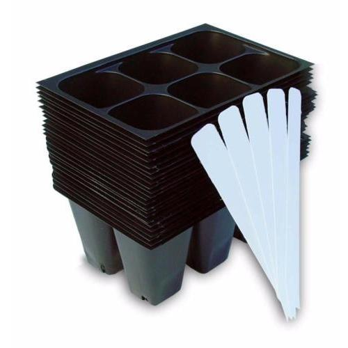 Seedling Starter Trays, 144 Cells: (24 Trays) Plus 5 Plant Labels, Seed Starting-Starting Gardens