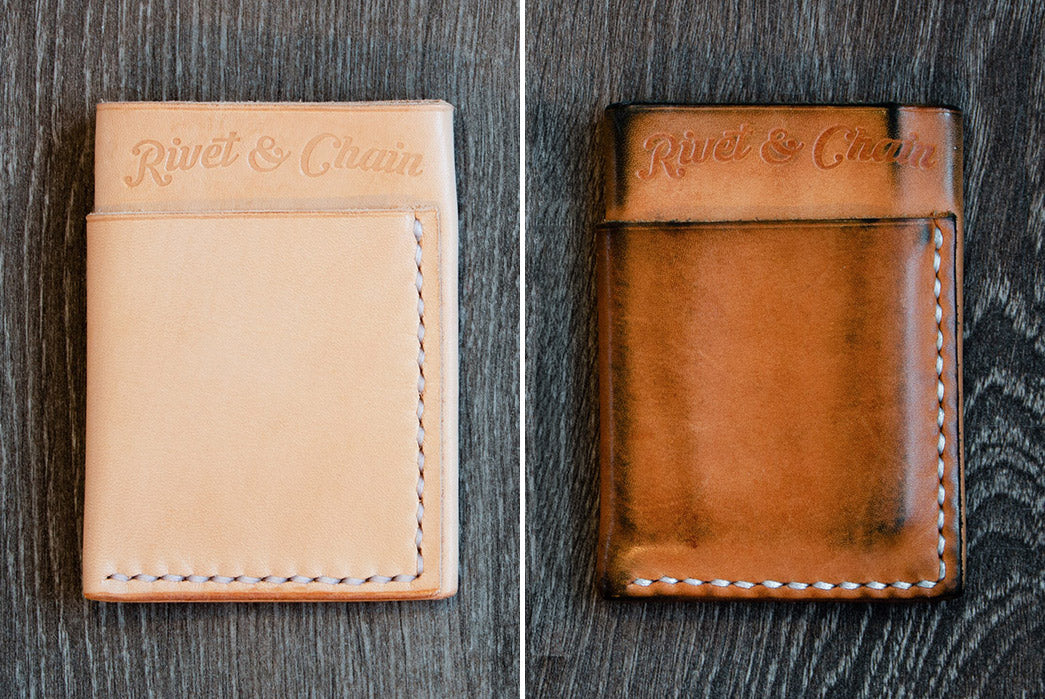 Flux wallet in natural veg tan leather patina