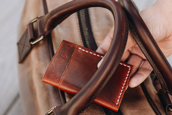 Full grain leather wallet and bag