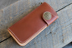 Brightsmith veg tan leather long wallet in chestnut