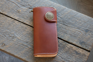 Brightsmith veg tan leather long wallet in chestnut closed