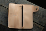 Brightsmith veg tan leather long wallet in natural open