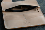 Brightsmith veg tan leather long wallet in natural zippered pocket