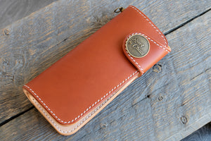 Brightsmith veg tan leather long wallet in tan
