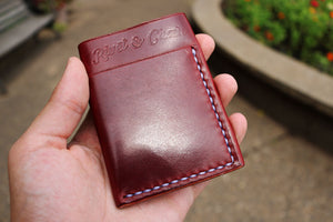 Flux veg tan leather wallet in burgundy