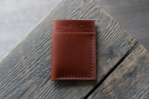 Flux veg tan leather wallet in chestnut