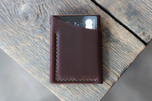 Flux veg tan leather wallet in hickory back card