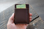 Flux veg tan leather wallet in hickory front cash