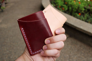 Flux veg tan leather wallets in natural and burgundy back