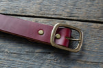 Garrison veg tan leather belt in burgundy