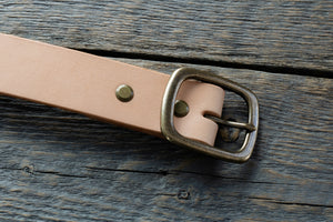 Garrison veg tan leather belt in natural