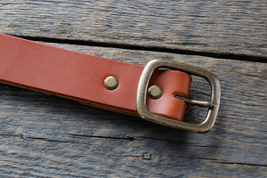 Garrison veg tan leather belt in tan