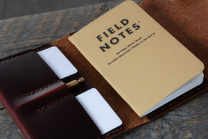 Journeyman harness leather notebook wallet close