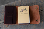 Journeyman harness leather notebook wallet open